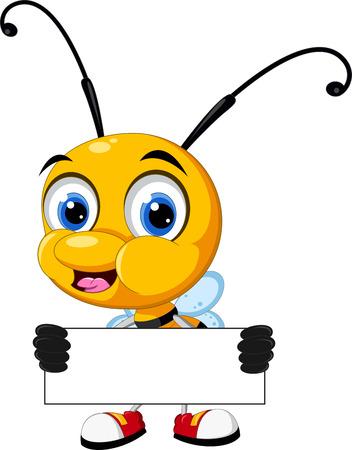Pequeña historieta de la abeja que sostiene la tarjeta en blanco Foto de archivo - 31398197