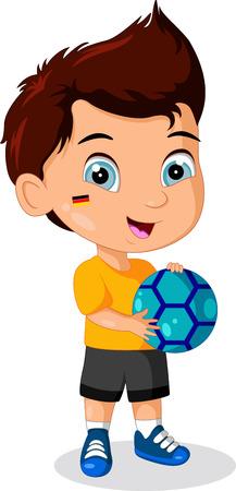 kids football: Illustration of Little Kid Soccer Boy