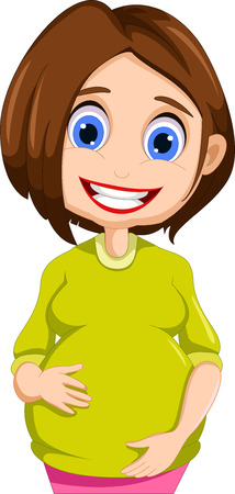 pregnant women cartoon posing Vector