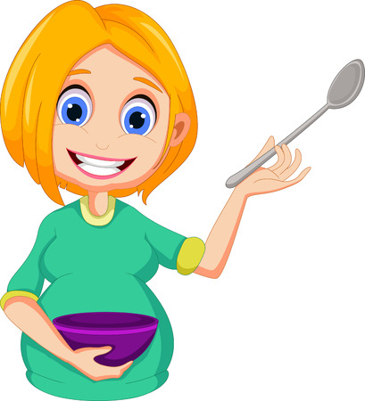 pregnant women cartoon presenting how to cooking Vector