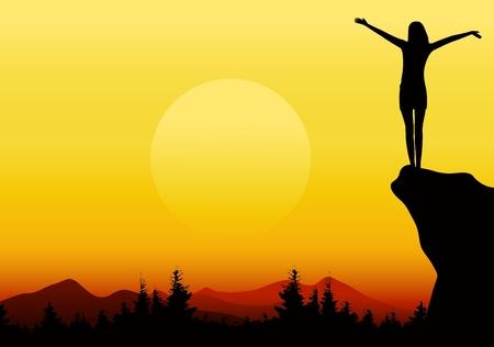 manos levantadas: silueta de una niña con las manos levantadas en la montaña