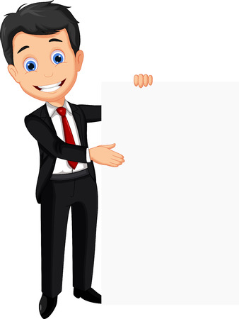 business man holding blank sign Ilustracja
