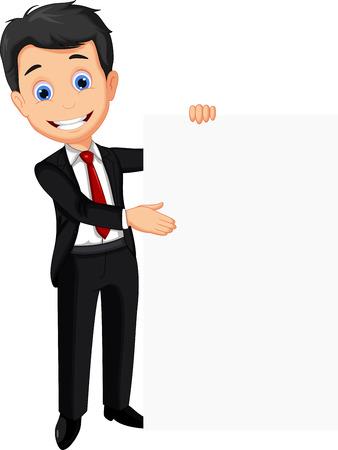business man holding blank sign Stock Illustratie