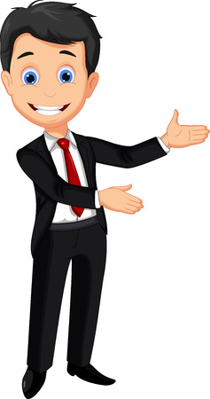 Smiling business man presenting