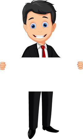 business man cartoon holding blank sign