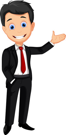 business man cartoon presenting Vector
