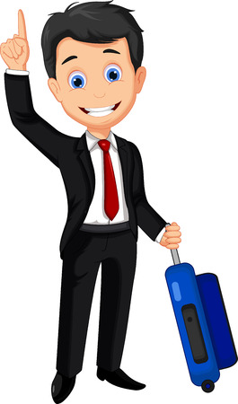 bring up: business man cartoon thumb up holding suitcase