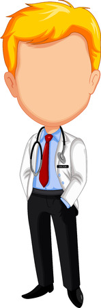 stethoscope boy: doctor cartoon posing without face