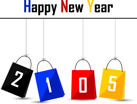 silhouette of happy new year 2015 with bag concept Vector