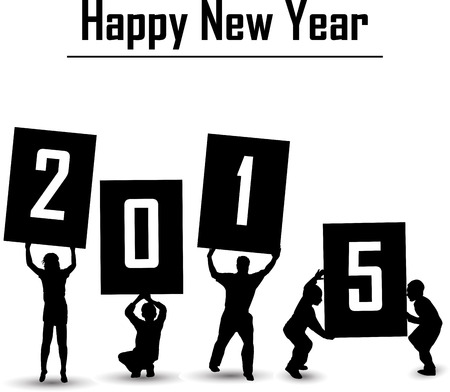 silhouette of happy new year 2015 concept Vector