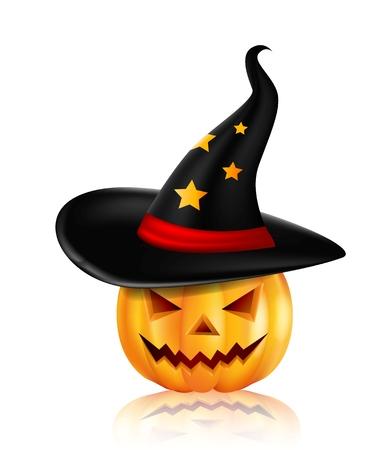 timid: Halloween pumpkin in the black hat