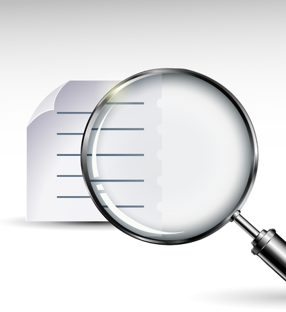 magnifying glass icon: Magnifying glass with abstract paper documents for you design Illustration