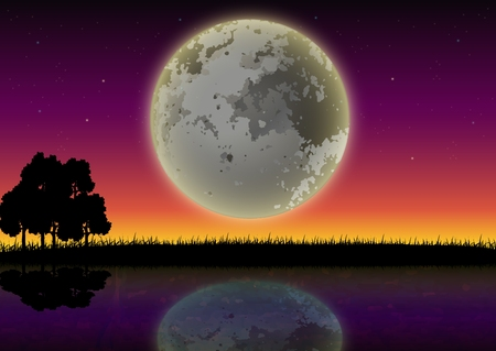 silhouette of forests and lakes with full moon background Vector