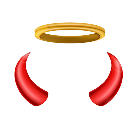 angel and devil: An angel halo and devil horns isolated for you design
