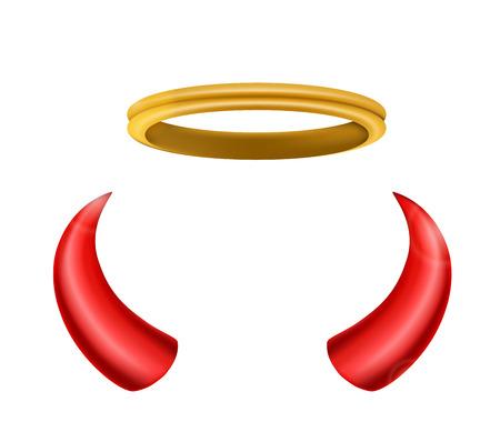 Een engel halo en de duivel horens geïsoleerd voor u ontwerp