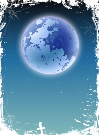 cobwebby: Halloween illustration with giant moon background Illustration