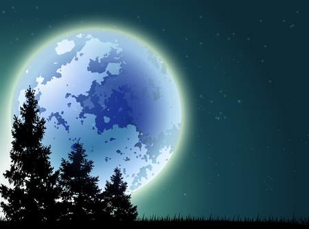 pine forests and lakes with full moon background Vector