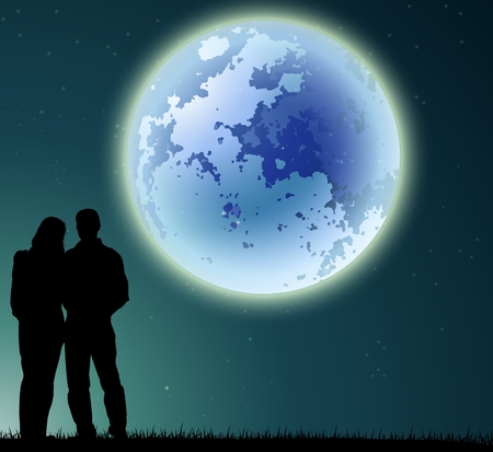 ambiance: couple silhouette with full moon background