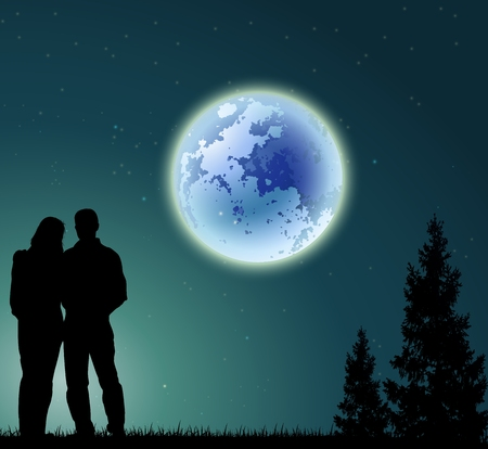 freedom couple: couple silhouette with full moon background and pine tree Illustration