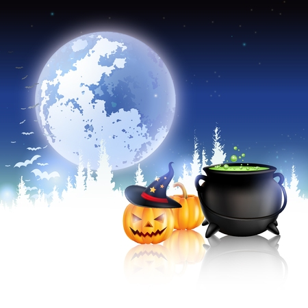 timid: Halloween night, grunge background with Moon