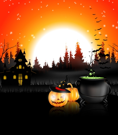 carved pumpkin: Halloween night background for you design
