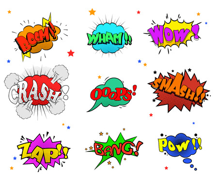 Collection of multicolored comic sound Effects