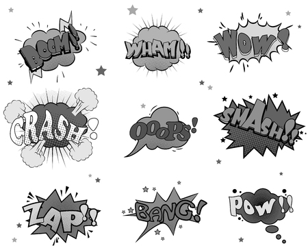 comic bubble: Collection of nine comic sound Effects for you design