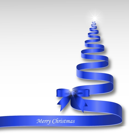 de focus: Blue Christmas ribbon tree