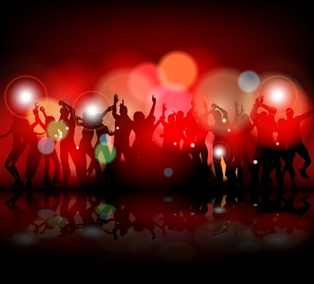 Silhouette of people showered with confetti on a club party