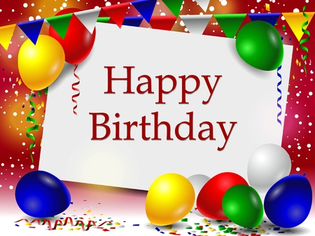 feliz: fondo de cumpleaños con globos y la muestra en blanco