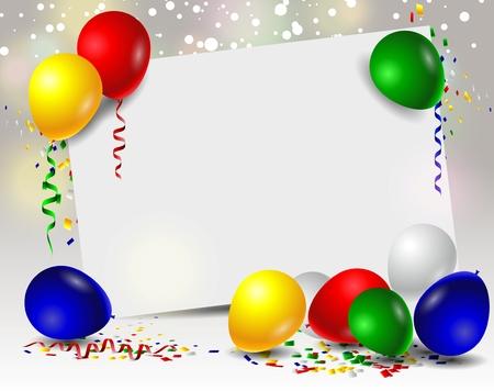 marco cumpleaños: cumpleaños del vector con los globos y la muestra en blanco