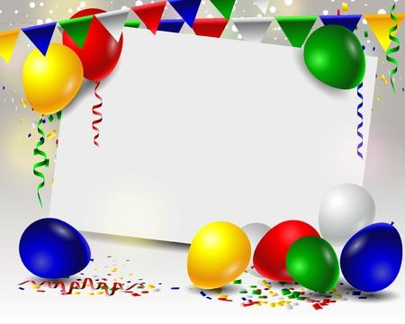 verjaardag met ballonnen en leeg teken Stock Illustratie