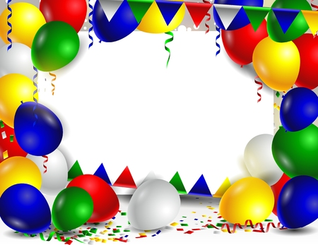 advertising text: Colorful advertising balloons with blank sign for your text Illustration