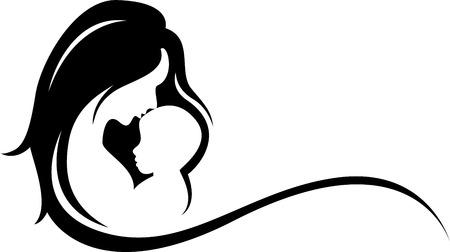 madre y bebe: la madre y el bebé silueta  Vectores