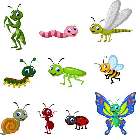 Collectie van insecten cartoon Stockfoto - 37084394