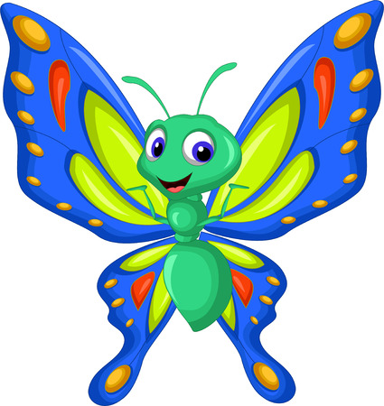mariposas volando: Vuelo de la mariposa de dibujos animados Vectores