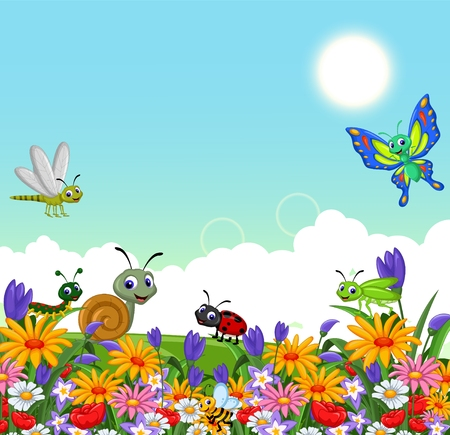 collection of insects in the flower garden  イラスト・ベクター素材