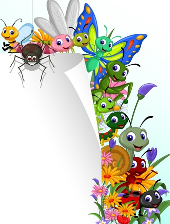 collection of insects with blank sign in the flower garden Vector