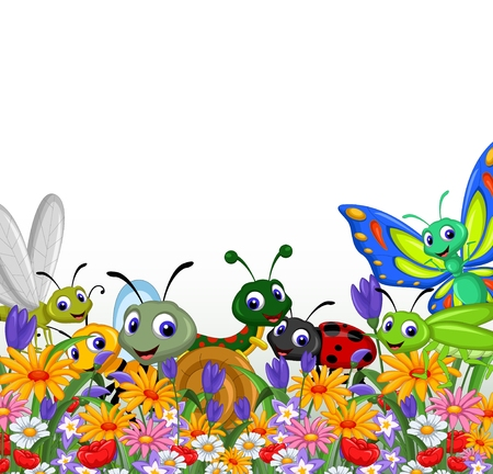 collection of insects in the flower garden Vector