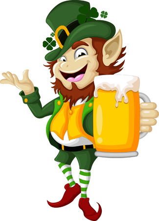 st patrick s day: Happy Leprechaun with beer