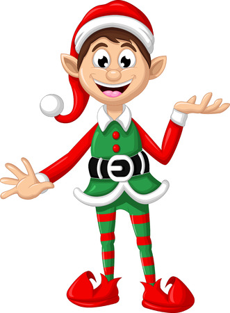 elf cartoon: Christmas elf posing