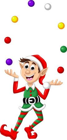 Christmas elf playing balls Vectores