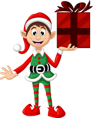 giftbox: Cute Christmas elf posing with giftbox