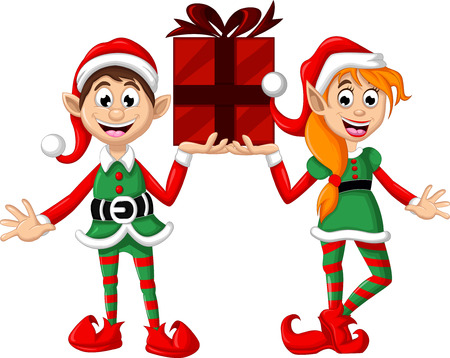 elf hat: Two Christmas elf posing with giftbox Illustration