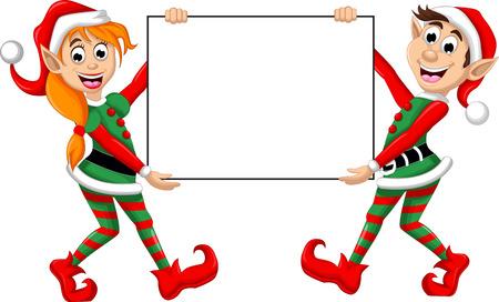 Dos posando Duende de la Navidad con la muestra en blanco