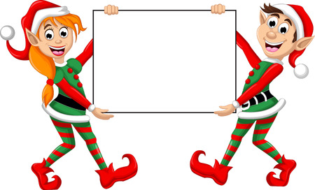 Two Christmas elf posing with blank sign