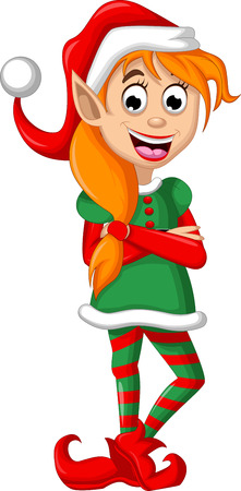 elf hat: Cute Christmas elf posing