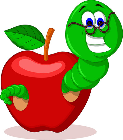 grub: caterpillar and apple for you design