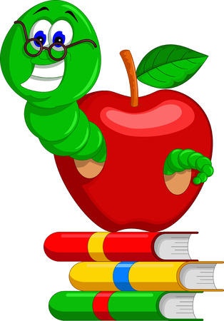 grub: caterpillar,books and apple for you design
