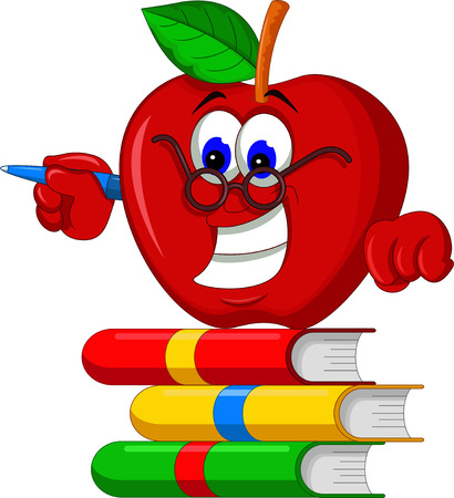 apple red: Books with apple cartoon presenting